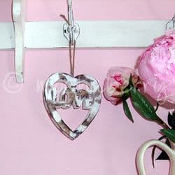 Chunky Distressed 'LOVE' Hanging Heart   Wooden Hanging Hearts