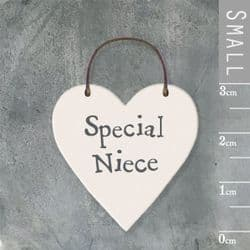 East of India Little Wooden Heart - Special Niece - 2878   mochaberry