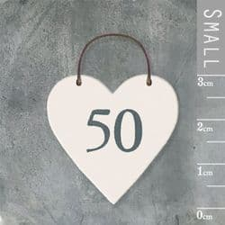 East of India Little Wooden Heart - Number 50 - 2900 | mochaberry
