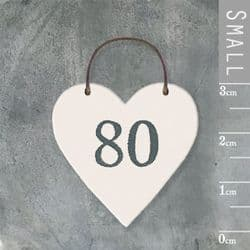East of India Little Wooden Heart - Number 80 - 2903 | mochaberry