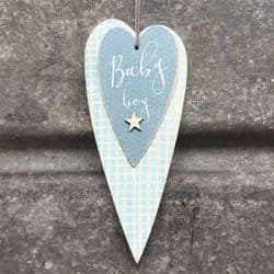 East of India Long Wooden Blue Heart - Baby Boy - 0519 | mochaberry