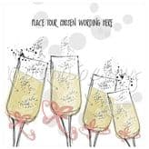 Four Champagne Flutes Personalised Card PBO12