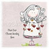 Girl Holding Hearts Personalised Card PR03
