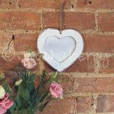 Hanging White Wooden Heart Photo Frame