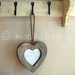 Hanging Wooden Heart Photo Frame | Rustic Heart Shaped Photo Frame