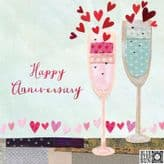 Happy Anniversary Champagne Glasses Card