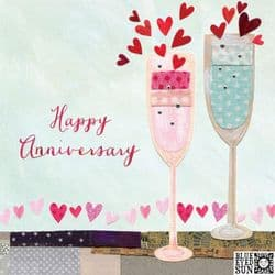 Happy Anniversary Champagne Glasses Card | Wedding Anniversary Cards | mochaberry