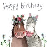 Horses Happy Birthday Card - Alex Clark S381