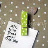 Lime Green Polka Dot Magnetic Pegs