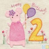 Mouse 2nd Birthday Card