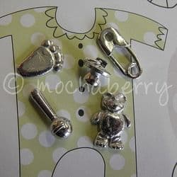 New Baby Pewter Tokens Set   Pewter Baby Tokens   Pewter Charms
