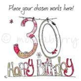 Personalised 30th Happy Birthday Card PC19