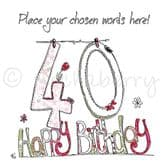 Personalised 40th Happy Birthday Card PC20