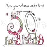 Personalised 50th Happy Birthday Card PC21