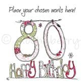 Personalised 80th Happy Birthday Card PC24