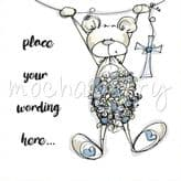 Personalised Blue Bear Christening Card PBL19