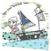 Personalised Boy Sailing A Pirate Ship Card PCK05