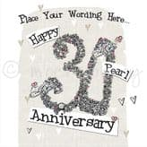 Personalised Happy Pearl Anniversary Card PLC36