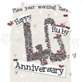 Personalised Happy Ruby Anniversary Card PLC37