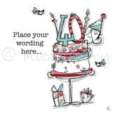Personalised Lady With 40th Cake Card PCJO27