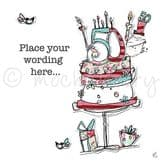 Personalised Lady With 50th Cake Card PCJO28