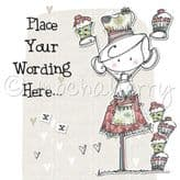 Personalised Lady With Cupcakes Card PLC23