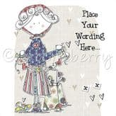 Personalised Lady With Heart Bunting Card PLC19