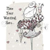 Personalised Lady With Rose Heart Card PLC14