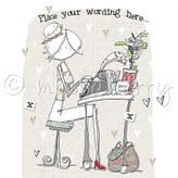 Personalised Lady Working At Desk Card PLC39