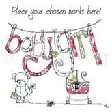 Personalised Washing Line Baby Girl Card PC25