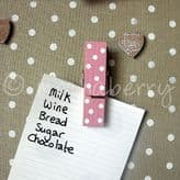 Pink Polka Dot Magnetic Pegs