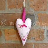 Pink Rose Padded Heart