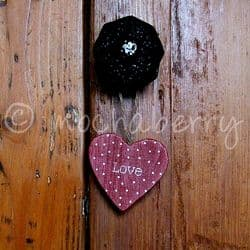 Red Polka Dot 'Love' Wooden Heart | Wooden Hearts | Rustic Hearts