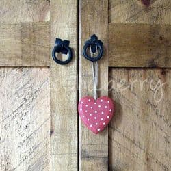 Red Polka Dot Wooden Heart | Wooden Hearts | Rustic Painted Hearts