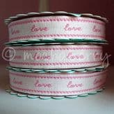 Roll Of Pink 'Love' Fabric Ribbon