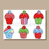 Six Cupcakes - greeting card