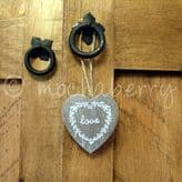 Small Wooden Hanging 'Love' Heart