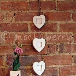 Three Hanging Hearts Photo Frame | Three White Heart Picture Frames
