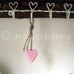 Tiny Pink Wooden Heart With White Polka Dots | Pink Wooden Hearts