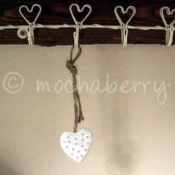 Tiny White Wooden Heart With Pink Polka Dots | White Wooden Hearts
