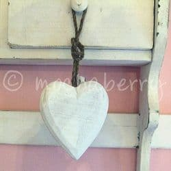 White Wooden Hanging Heart | Wooden Hearts | White Rustic Hearts