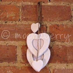 White Wooden Hanging Hearts Photo Frame   Double White Photo Frame