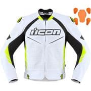 Icon Hypersport 2 Prime Leather Jacket White/Hi-Viz