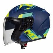 MT Avenue Openface Helmet Sideway Matt Blue/Green/Yellow