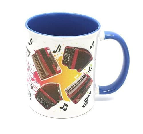 Accordion Design on Blue Mug