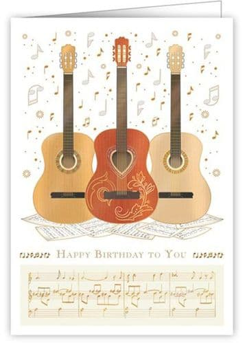 Birthday Card - 3 Acoustic Guitars by Quire