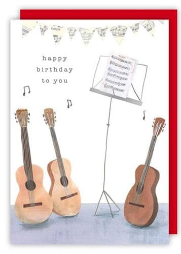 Birthday Card - Music Stand & Guitars by Quire