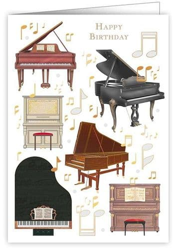 Birthday Card - Pianos by Quire