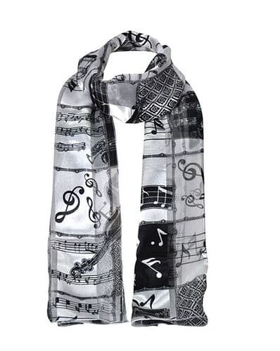 Black and White Instrumental Scarf by Tie Studio