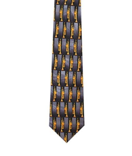 Black Square Tie with Trumpets by Tie Studio